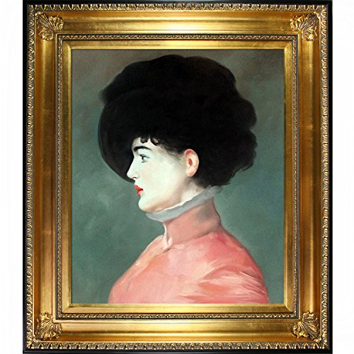 Irma Brunner (Woman in a Black Hat) by Manet with Regency Gold Frame and Gold Finish with Black Edge - EK CHIC HOME
