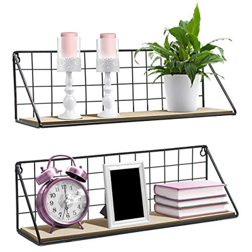 Sorbus Floating Shelves Wall Mounted Rustic Wood Storage Set for Picture Frames - EK CHIC HOME