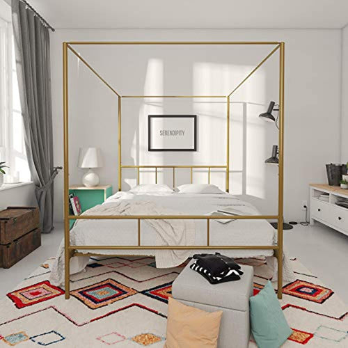 Marion Canopy Bed Frame, Gold