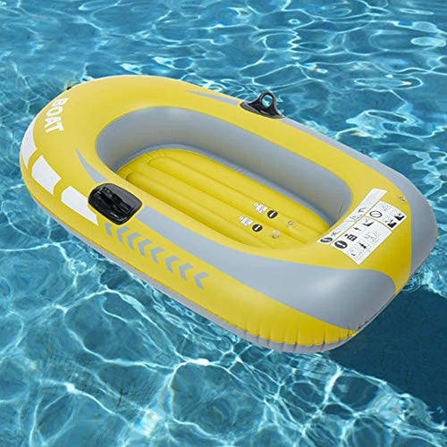 Inflatable Boat,Yellow PVC 1-Person Rowing Air Boat Fishing Drifting Diving Tool