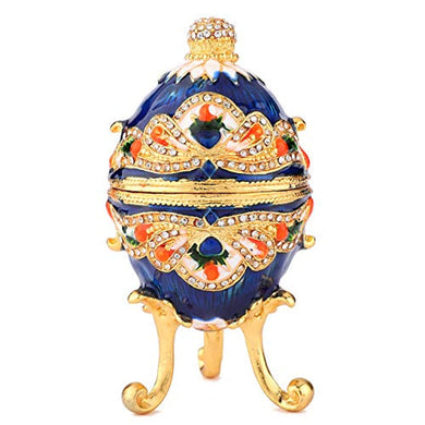 Hand Painted Enameled Colorful Faberge Egg Style Decorative Hinged Jewelry Trinket Box - EK CHIC HOME