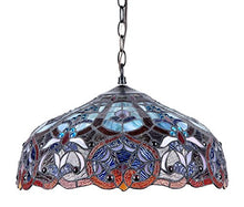 Load image into Gallery viewer, Tiffany-Style Victorian 2-Light Ceiling Pendant Fixture, 18-Inch, Multi-colored - EK CHIC HOME