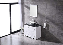 "Load image into Gallery viewer, 36"" White Bathroom Vanity Cabinet Single Square Ceramic Vessel Sink Top Faucet Drain with Mirror - EK CHIC HOME"
