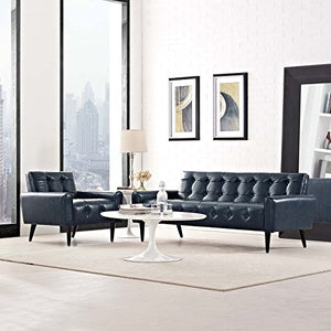 Luxury Button Tufted Bonded Leather Sofa and Armchair Set Blue - EK CHIC HOME
