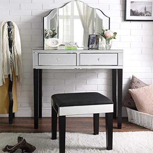 Mirrored Black Vanity Set - 3 Piece Set - Stool and Mirror - EK CHIC HOME