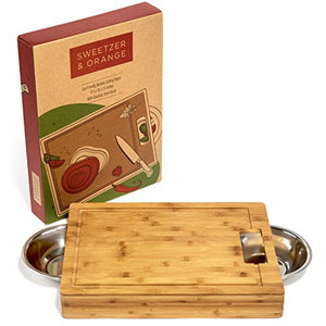 Large Bamboo Cutting Board with Stainless Steel Bowls and Juice Groove - EK CHIC HOME