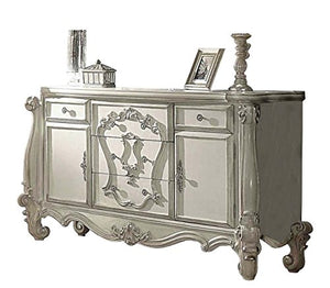 French Versailles Bedroom Set with Queen Bed, Nightstand, Dresser and Mirror - EK CHIC HOME