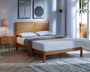 Wood Platform Bed Deluxe Unique Style Design with Headboard, Rustic Pine Finish - EK CHIC HOME