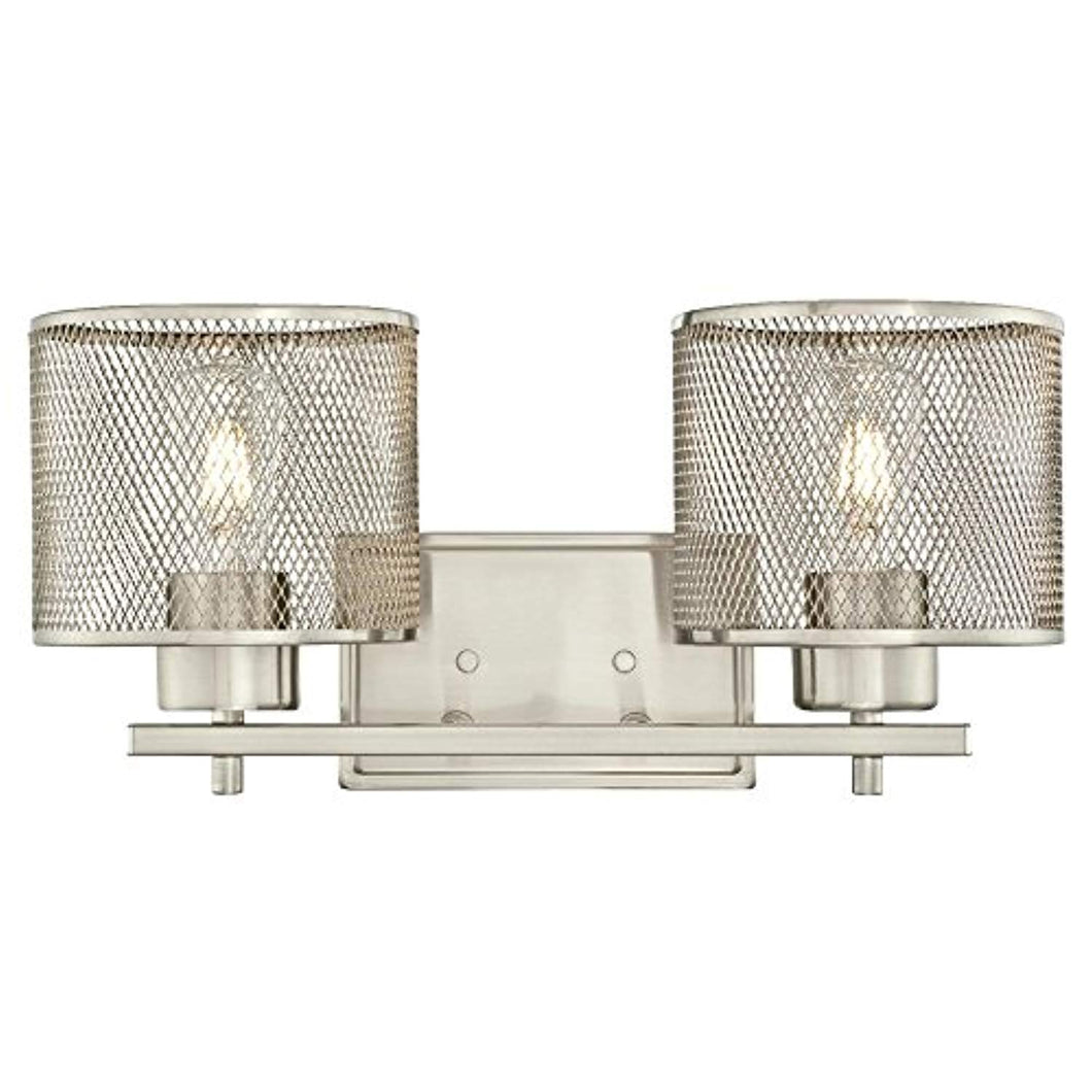 Two-Light Indoor Wall Fixture, Brushed Nickel Finish with Mesh Shades - EK CHIC HOME