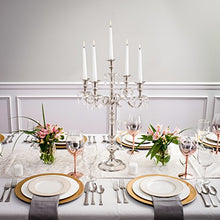 Load image into Gallery viewer, Traditional 24 Inch Silver 5 Candle Candelabra With Crystal Drops - EK CHIC HOME
