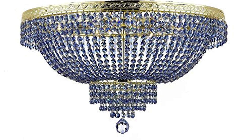 French Empire Semi Flush Crystal Chandelier Lighting - Dressed with Sapphire Blue Color Crystals! - EK CHIC HOME