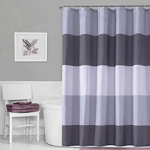 Julifo Shower Curtain Black and Grey Polyester Fabric Bathroom Curtain Waterproof - EK CHIC HOME