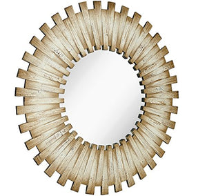 Round Wood Starburst Circle Mirror - EK CHIC HOME