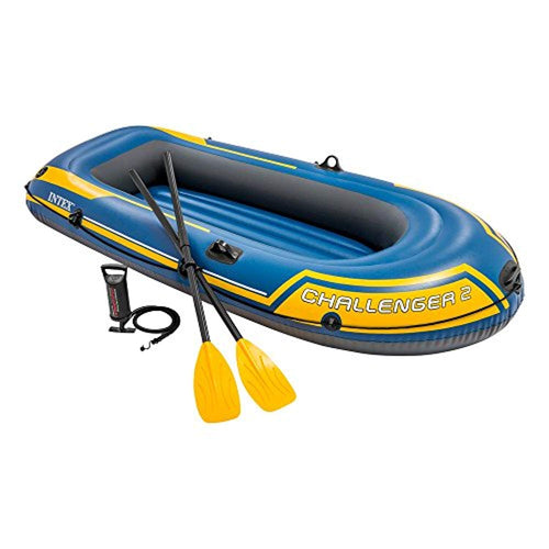 Challenger 2, 2-Person Inflatable Boat Set with French Oars and High Output Air Pump (Latest Model) - EK CHIC HOME