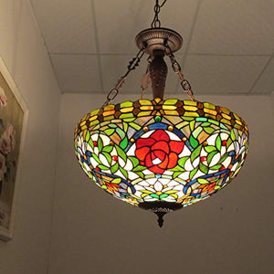 Rose Tiffany Pendant, One Size, Multi-Colored - EK CHIC HOME