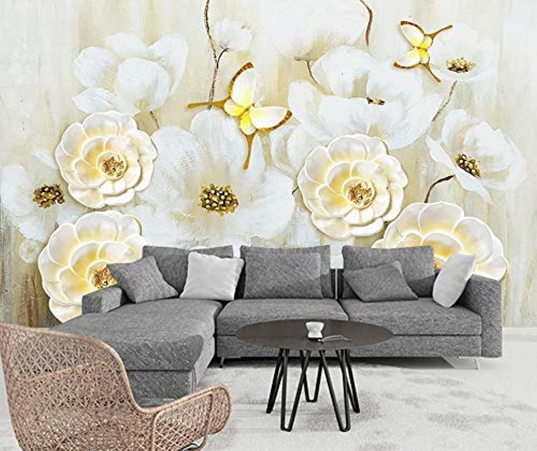 Floral Wallpaper Yellow Magnolia Oil Painting Flower Wall Print Butterfly Wall Art Nordic - EK CHIC HOME