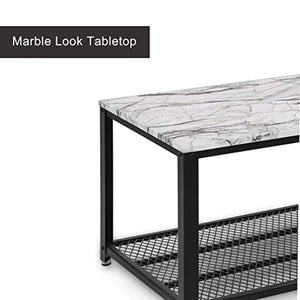 CHIC Cocktail Table Storage Shelf for Living Room, Easy Assembly, Faux Marble - EK CHIC HOME
