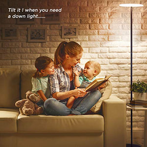 Dimmable LED Torchiere Floor Lamp 3-Level Adjustable - EK CHIC HOME