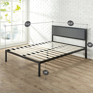 14 Inch Platform Metal Bed Frame with Upholstered Headboard / Mattress Foundation / Wood Slat Support - EK CHIC HOME