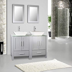 "48"" Double Sink Bathroom Vanity Cabinet Combo Glass Top Grey Paint MDF Wood w/Faucet, Mirror&Drain set - EK CHIC HOME"