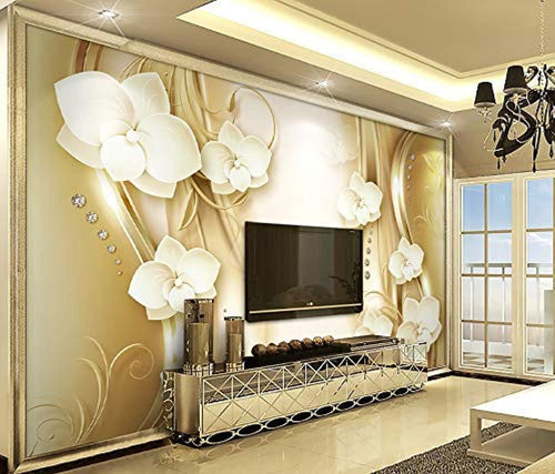 Floral Wallpaper Gold Orchid Flourish Pattern Wall Print Luxury Home Decor - EK CHIC HOME