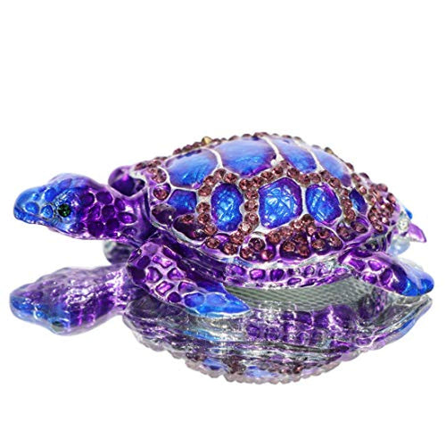 Purple Sea Turtle Figurine Collectible Hinged Trinket Box Bejeweled Hand-Painted Ring Holder - EK CHIC HOME