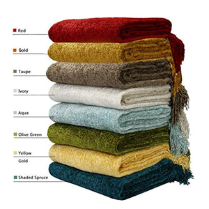 Fluffy Knitted Throw Blanket with Decorative Fringe for Home Décor - EK CHIC HOME