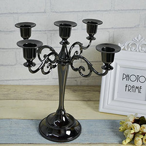 5-Candle Metal Candelabra Candlestick 10.6 inch Tall Candle Holder - EK CHIC HOME
