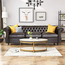 Load image into Gallery viewer, Chesterfield Tufted Bonded Leather Sofa with Scroll Arms - EK CHIC HOME