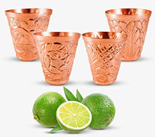 Load image into Gallery viewer, Embossed Moscow Mule Copper Bundle - Includes 4 Copper Mugs and Matching Shot Glasses - EK CHIC HOME