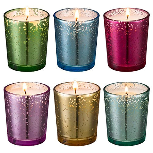 Mercury Glass Votive scented Candle 6 Pack Gift Set (Speckled Gold) - EK CHIC HOME