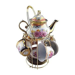 13 Piece European Retro Titanium Ceramic Tea Set With Metal Holder - EK CHIC HOME