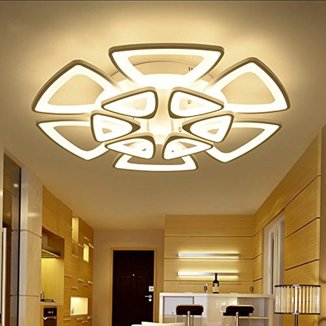 LED Ceiling Lighting Fixture- Flush Mount Contemporary Chandelier (Warm, 12 Heads) - EK CHIC HOME