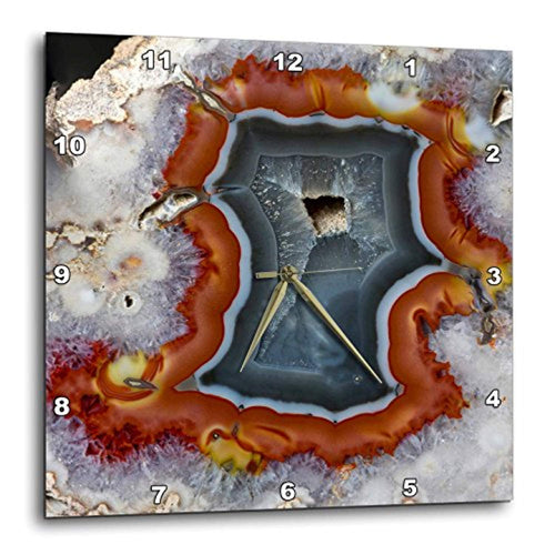 Quartzsite - Banded Agate - Orange and Gray Wall Clock, 15