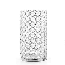"Load image into Gallery viewer, Silver Finish Sparkle Gem LED Pillar Candle Holder 7.5"" High Lantern - EK CHIC HOME"