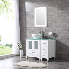 "Load image into Gallery viewer, 36"" White Bathroom Wood Vanity Cabinet Ceramic Vessel Sink Top Faucet Drain Combo with Mirror Vanities Set - EK CHIC HOME"