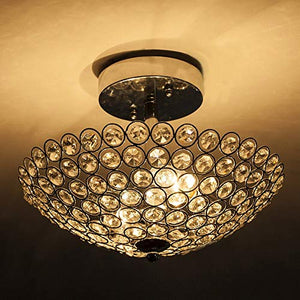 2 Lights 11.8 Inches Bowl Shaped Chrome Finish Crystal Flush Mount Ceiling Light - EK CHIC HOME