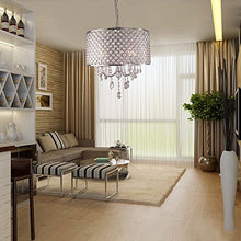 Load image into Gallery viewer, 4 Lights Pendant with Crystal Drops in Round - EK CHIC HOME