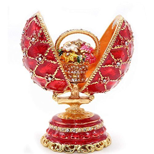 Hand-Painted Red Grid Egg-Shaped Jewelry Collectible Box - EK CHIC HOME