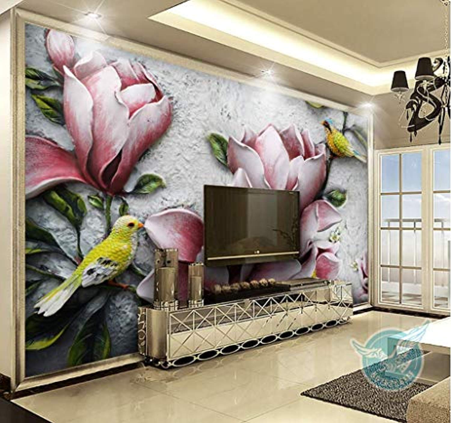 Floral Wallpaper 3d Embossed Lily Wall Mural Vintage Flower Wall