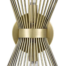 "Load image into Gallery viewer, Rivet Mid-Century Modern Antique Gold 2-Light Starburst Wall Sconce, 17.5"" H, With Bulbs, Metal - EK CHIC HOME"
