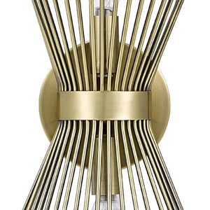 "Rivet Mid-Century Modern Antique Gold 2-Light Starburst Wall Sconce, 17.5"" H, With Bulbs, Metal - EK CHIC HOME"