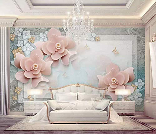 Floral Wallpaper Pink Rose Wall Mural Luxury Home Decor - EK CHIC HOME