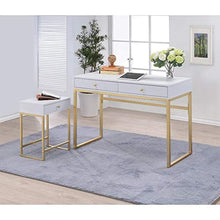 Load image into Gallery viewer, Coleen Side Table, White & Brass