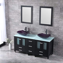 "Load image into Gallery viewer, 60"" Bathroom Double Wood Vanities Cabinet with Mirrors Flower Purple Tempered Glass Vessel Sink Combo Oil Rubbed Bronze Faucet Pop-up Drain - EK CHIC HOME"