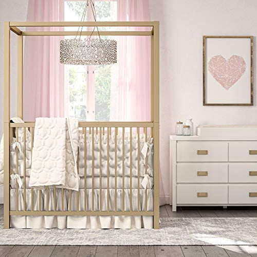 LUXE Monarch Hill Haven Metal Canopy Crib, Gold
