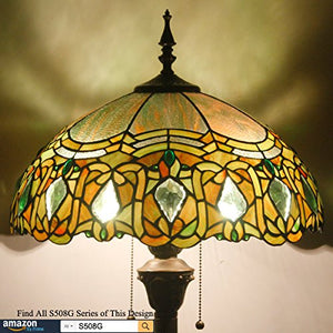 Tiffany Floor Standing Lamp 64 Inch Tall Green Red Bend Stained Glass Shade 2 Light - EK CHIC HOME