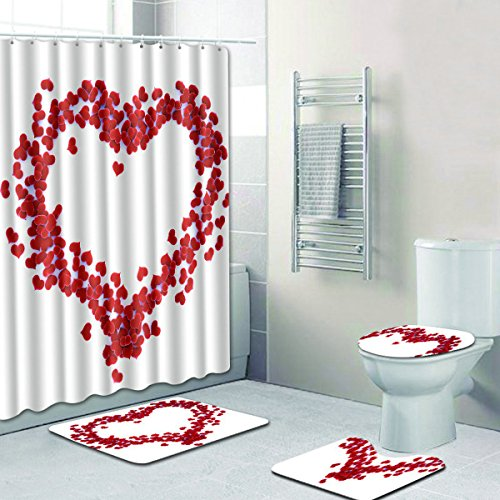 4 Piece Bathroom Set,Red Love Heart Waterproof Shower Curtain Non-Slip Contour Rug Toilet Lid Cover and Bath Mat - EK CHIC HOME