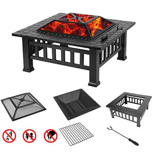 Fire Pit, 32 Inch Metal Square Patio Backyard Fire Pits Outdoor - EK CHIC HOME