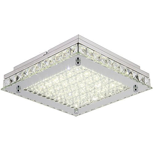 Dimmable LED Ceiling Lights, 10inch Glass Shade Crystal Flush Mount Ceiling Light - EK CHIC HOME